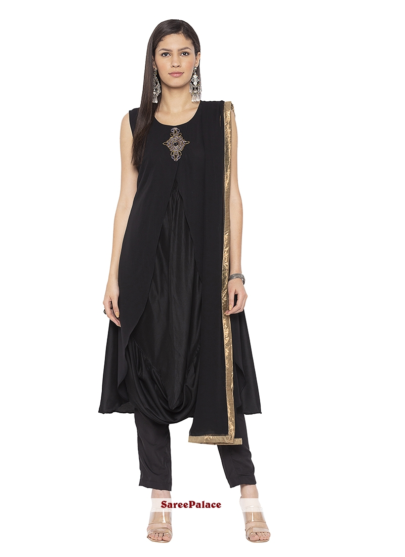 Black Muslin Printed Designer Salwar Kameez
