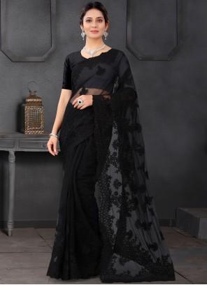 Black Net Ceremonial Trendy Saree