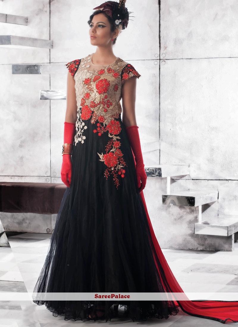 7b1ff13ab3d Buy Black Net Designer Gown Online