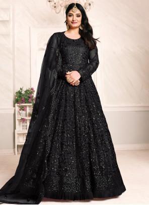Black Net Thread Work Floor Length Anarkali Suit