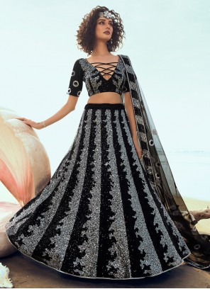Black Net Trendy Lehenga Choli