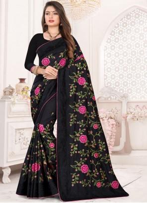 Black Party Art Silk Designer Traditional Saree