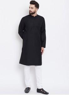 Black Party Cotton Kurta Pyjama