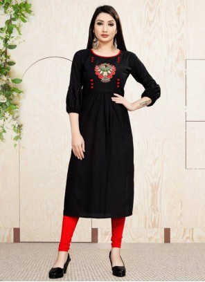 Black Embroidered Party Wear Kurti