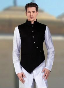 Black Party Rayon Nehru Jackets