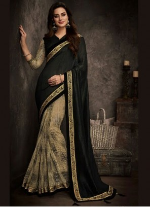 Black Patch Border Art Silk Traditional Designer Saree