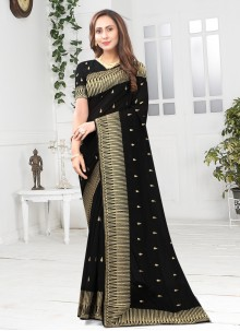 Black Patch Border Silk Designer Saree