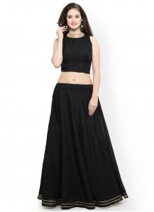 Black Plain Chanderi Cotton Readymade Lehenga Choli