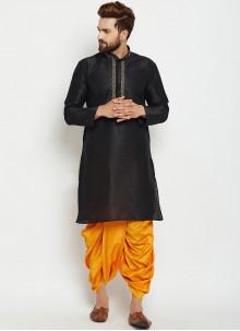 Black Plain Dhoti Kurta