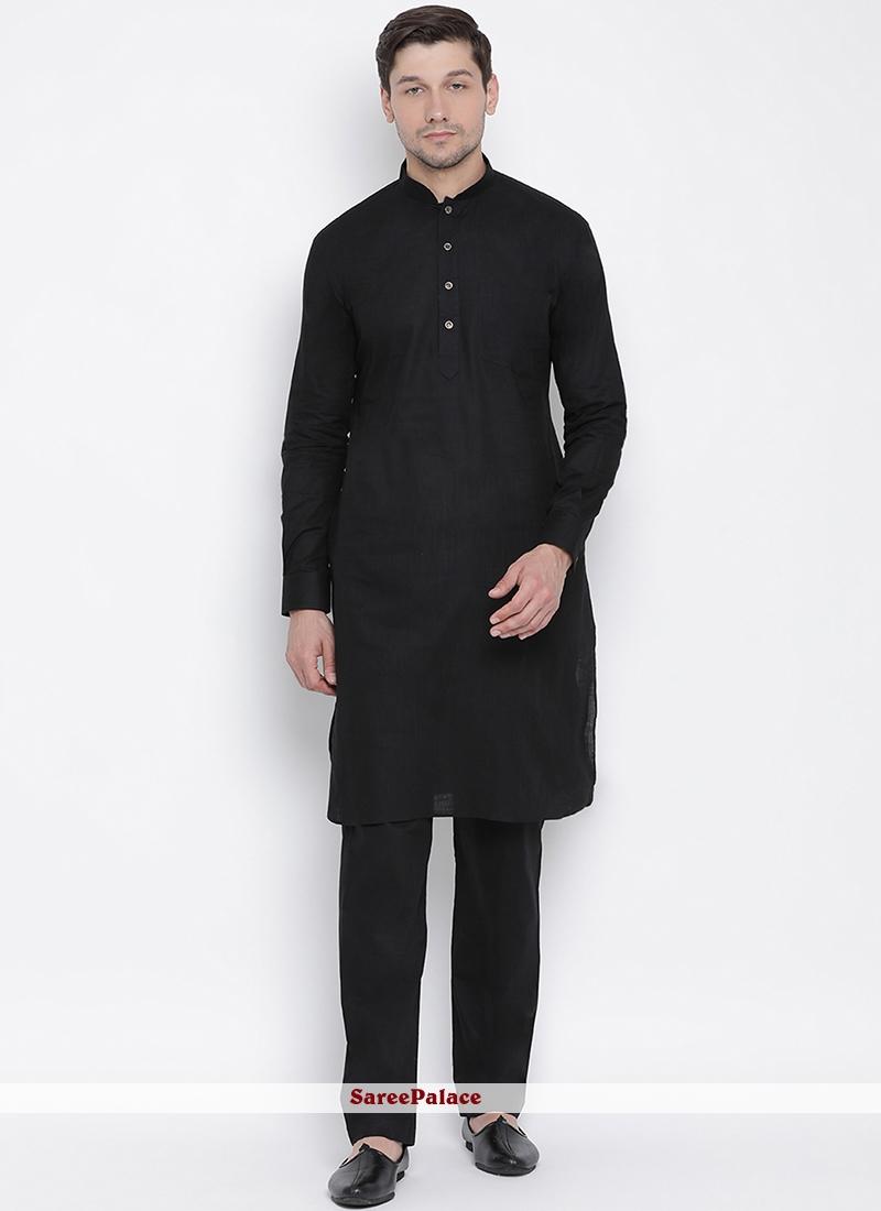 Black Plain Kurta Pyjama