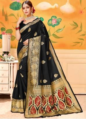 Black Print Casual Saree
