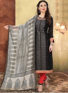 Black Print Festival Churidar Designer Suit