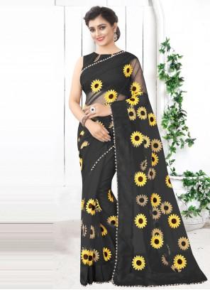 Black Festival Printed Saree