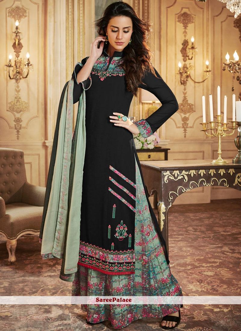 76fa1aaa2e7 Buy Black Print Georgette Palazzo Designer Salwar Kameez Online