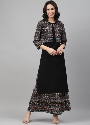 Black Print Rayon Party Wear Kurti