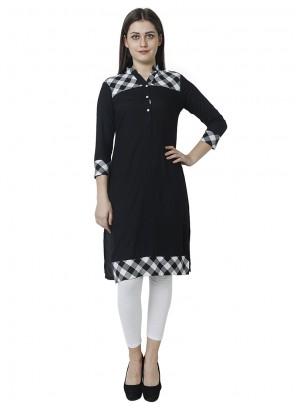 Black Print Rayon Salwar Kameez