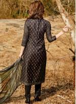 Black Print Work Cotton Satin Pant Style Suit