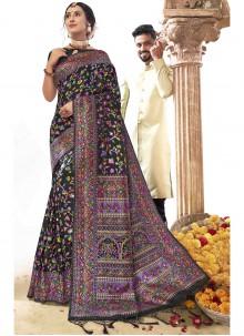 Black Printed Art Silk Saree