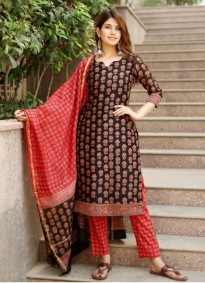 Black Printed Chanderi Pant Style Suit