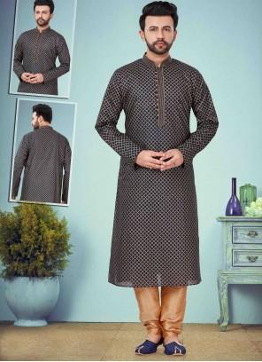 Black Printed Cotton Silk Kurta Pyjama