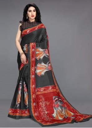 Black Cotton Silk Printed Saree