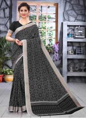 Black Printed Saree