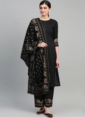 Black Printed Readymade Suit