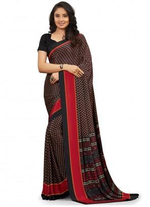 Black Printed Trendy Saree