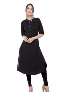 Black Rayon Printed Designer Kurti