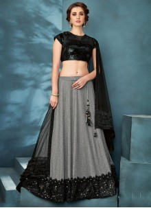 Black Reception Fancy Fabric Trendy Lehenga Choli
