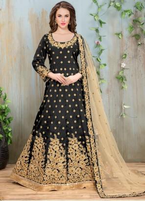Black Reception Floor Length Anarkali Salwar Suit