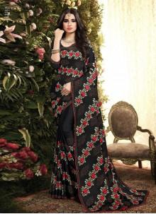 Black Resham Silk Classic Saree