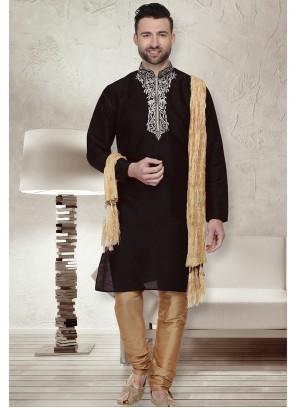 Black Sangeet Art Dupion Silk Kurta Pyjama