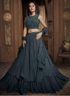 Black Sangeet Fancy Fabric Designer Lehenga Choli