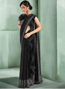 Black Sangeet Lycra Trendy Saree