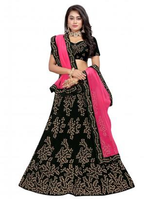 Black Sangeet Velvet Lehenga Choli