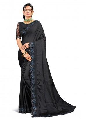 Black Satin Silk Festival Designer Saree