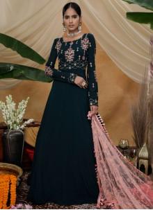 Black Sequins Faux Georgette Designer Gown
