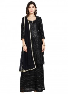 Black Sequins Faux Georgette Designer Pakistani Suit