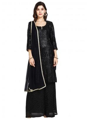 Black Sequins Faux Georgette Designer Pakistani Suit