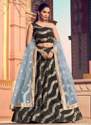 Black Sequins Mehndi Lehenga Choli