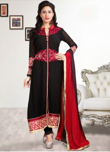 Black Shaded Faux Georgette Straight Salwar Suit