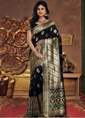 Black Silk Designer Saree