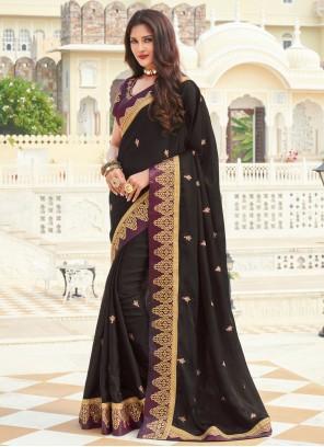 Black Silk Embroidered Designer Saree