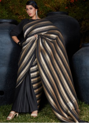 Black Silk Designer Traditional Saree