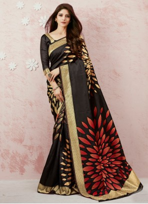 Black Silk Weaving Classic Saree
