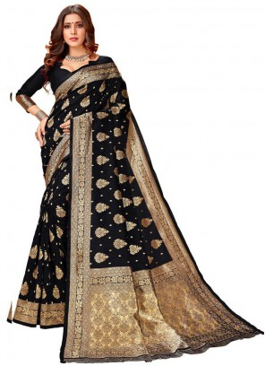 Black Silk Weaving Designer Saree