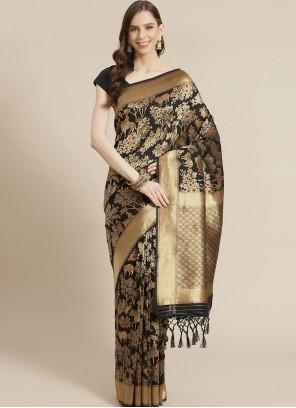 Black Silk Weaving Traditional Saree