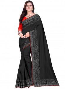Black Stone Work Designer Saree