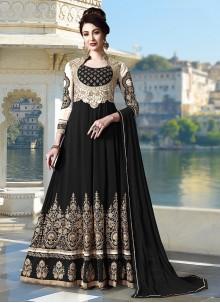 Black Stone Work Faux Georgette Anarkali Salwar Kameez